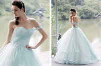 2017 Baby Blue Lace Masquerade Quinceanera Dresses One Shoul...