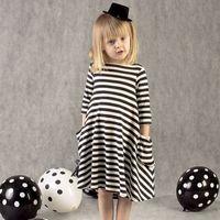 New autumn girls dresses stripe kids dress children casual l...