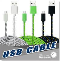 1M 2M 3M Tissu Tissu Synchronisé Nylon Synthétique Tissé Micro USB Universal Câble Câble Extra Long Extension Pour Samsung Iphone Câble de Données HTC