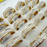 10pcs Jamais Fade femmes Engagement anniversaire classique anneau de mariage Zircon or en acier inoxydable Anneaux Femme Bijoux L065