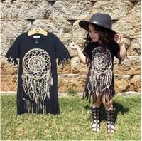 Girls Dress 2016 nova primavera roupas estilo de personalidade casuais bebê negro selvagem do estilo do verão das crianças vestido de franjas de altíssima qualidade 1-5Y livre