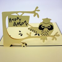Three dimentional thirthday card owl feature desigin happy b...