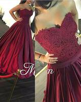 2017 New Fashion Long Burgundy Evening Dresses Lace Sweethea...