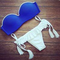 Hot Sale 2016 summer new striped fringed bikini women red Bi...