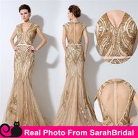 Vintage Champagne Evening Dresses Cheap Luxury Sequins Keyho...