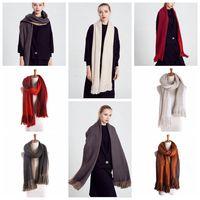 Женщины долго Крупногабаритные шарф зимы теплый шарф шаль пашмины Studios кисточкой Женщины Обертывания двойной цвет зимы шарфов 200 * 50см KKA920