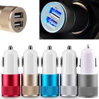 Métal double port USB Chargeur voiture universel 12 Volt / 1 ~ 2 Amp pour Apple iPhone iPad iPod / Samsung Galaxy / Motorola DHL CAB114 gratuit