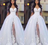 2017 Новый год сбора винограда с плеча Свадебные платья Sheer Illusion длинными рукавами Кружева Аппликации Белый Арабский Элегантные платья A-Line Свадебные