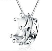 Hot 2016 Sale Women crystal circle Pendant 925 sterling silv...