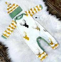 2016 Outono Inverno dos cervos do Natal Bebés Meninos Meninas macacãozinho One Piece manga comprida Macacão Infante recém-nascido traje Xmas Com 0-2years Hat