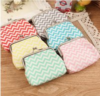 High quality Chevron wavy lines coin purse Women fashion wav...