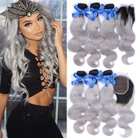 8A Brazilian Grey Hair Weave 3 Bundles With Lace Closure Sil...