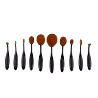 10 pcs Pro Toothbrush Shaped Oval Makeup Brush Cosmetic Foun...