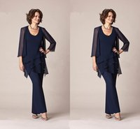 Three Pieces Chiffon Mother Of the Bride Pant Suits 2016 Lon...