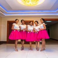 Плюс размер платья невесты Африканский Jewel Короткие рукава блокированного с кружевом аппликация Свадебные платья Guest Назад Zipper Колен платье партии