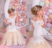 2016 Довольно принцесса кружева цветок девочки платья Русалка Ruffles Organza блокированного рукава Первое причастие платье Pageant платья для детей