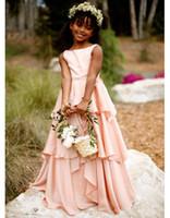 Длина Дешевые цветок девочки платья для свадьбы шифон розовый Многоуровневое покрытие Kids Party мантий O шеи платья девушки цветка
