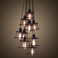 American Country Vintage Iron Art Pendant Lamp LOFT Industri...