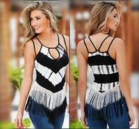 Sexy creux Sling Longue chemise Femmes Mode Tops 2016 Summer Striple manches Patchwork T-shirt pour les femmes plus t-shirt Taille Tassel 0614