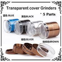 Transparent Cover Pétale Grinders 63mm 5 pièces en alliage d'aluminium en métal Grinders Grinders Herb Herb Concasseur tabac Grinders