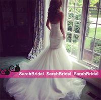 2017 года Плюс размер Русалка Свадебные платья для невест Соблазнительные продаже дешевые 2016 из двух частей со съемным шнурком Fit и Flare Простые свадебные платья