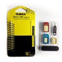Aluminium Métal 5 en 1 Nano carte SIM vers Micro carte SIM standard Adaptateur Convertisseur Eject Pin Set Pour iPhone 5 6 6+ plus Galaxy S5 S6 Bord