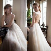 Sexy Blinking Backless Wedding Dresses Beaded Jewel Neckline...