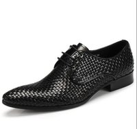 Luxury Men New woven dress shoes British pointed business po...