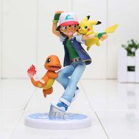 Anime Poke Ash Ketchum & Kawaii Pikachu Charmander PVC Actio...