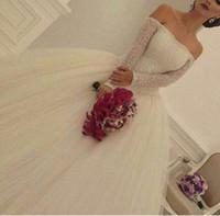 2016 бальное платье Свадебные платья бисером лифа с плеча платья с длинными рукавами Саудовская арабский Люкс