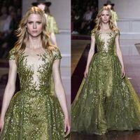 Illusion Zuhair Murad A- Line Evening Dresses Short Sleeve Fl...