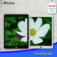 Haute qualité tactile écran écran de verre avec des pièces de réparation d'origine pour iPad air avec bouton maison 3M adhésif DHL Livraison gratuite