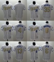 Elite Version Mens Kansas City Royals 13 Salvador Perez #4 A...