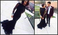 2017 Пром платья Длинные черные Boat Neck с длинным рукавом Русалка Пром платья Sexy Тарик Ediz шнурка вечера Dressess платье Плюс Размер Стиль
