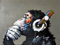 Прекрасное прослушивание обезьян, 100% ручная роспись живописи современного живопись маслом на холсте высокого качества в формате Multi Size