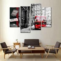 4 Панель стены искусства Картина Красный Лондонский автобус в черно-белые картины для гостиной Декор-Сити Фотографии Фото печать на холсте