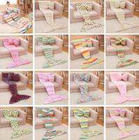 130 * 70cm Cobertores cauda de sereia sacos de dormir para crianças sereia Sofá Cobertores envoltórios macios quentes Velvet Cocoon Cama Cobertores 16 COLOR PPA391