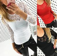 Outono nova Nova lista mulheres sexy laço costura camisa de mangas compridas, moda Slim mulher barata, oca T - shirts