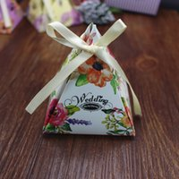 Triangle Wedding Favor Boxes Candy Box printed paper Wedding...