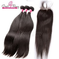 4pcs lot Straight Brazilian Hair Closure Stock Human Hair Si...