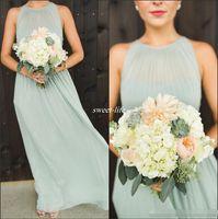 2016 Элегантный Sage Green шифон Ruffles Длинные платья Bridesmaid длины пола Открыть Назад Boho Страна Свадьба горничной честь Gowns Формальное