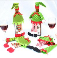 Christmas Decoration supplies Polka Dot  stripe red Wine Bot...