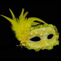 Venice mask feather mask pearl lace masked balls