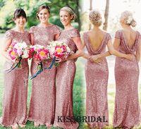 Дешевые Blush Pink Sequined Bridesmaids платья Длинные шеи Bateau 2016 Cap рукава Backless Оболочка Плюс Размер длиной до пола платье горничной честь платье