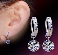 Boucles d'oreilles en argent sterling 925 Boucles d'oreilles en boule de cristal Shambala Platine plaqué ronde Autriche AAA Cubic Zirconia Dangle Charm Jewelry