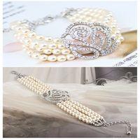 wholesale, specialized rhinestone rose imitate pearl necklace...