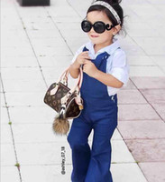 INS Hot Denim Girls Suspender Trousers Bell- bottoms Children...