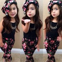 kids clothes baby girl clothes black Sleeveless t- shirt + pa...