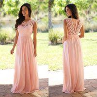 Cheap Blush Lace Bridesmaids Dresses Jewel Neckline Chiffon ...