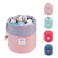 2016 Hot Barrel en forme de Voyage Sac Cosmétique Nylon Haute Capacité Drawstring Électrique Drum Wash Sacs Maquillage Organisateur Stockage Sac Case DHL
